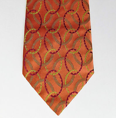 Grosvenor Tootal vintage tie 1950s 1960s British mens wear SHORT bright orange
