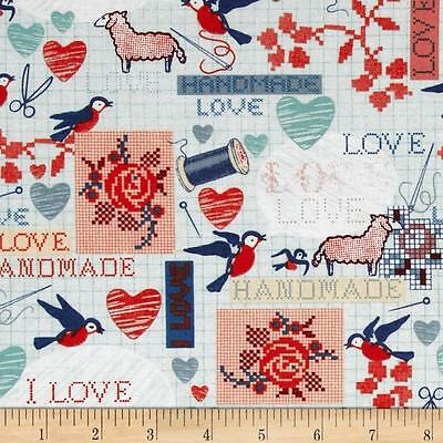 Handmade  Stitchery Sampler 100% Cotton Fabric by Windham Fabrics  FQ