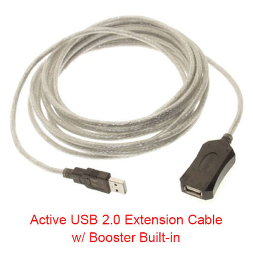15 Ft 5 Meter USB 2.0 Active Extension Cable w// Booster Type A Male to Female