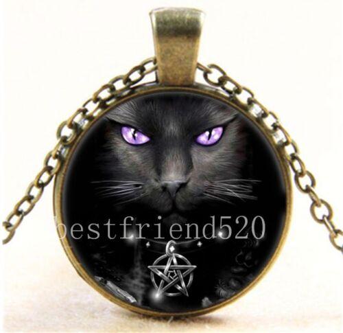Vintage Wicca Black Cat Photo Cabochon Glass Bronze Chain Pendant Necklace