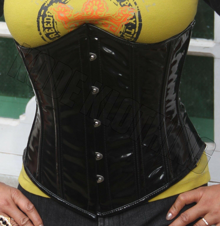 c65db4f3d9 Heavy Duty Steel Boned Under Bust waist trainer Hourglass tight laces PVC  Corset KK-076-PVC