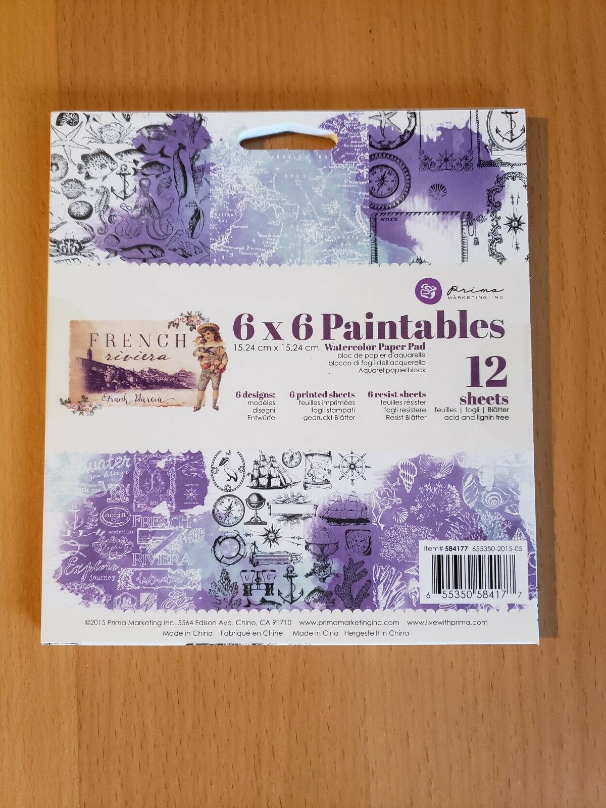 12 Pack 6 by 6 Multicolor Prima Marketing 584177 French Riviera Paintable Watercolor Paper Pad