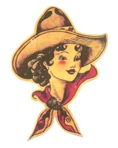 Cowgirl Vintage Iron on Patch Flash Tattoo Applique Cotton Sailor Jerry Retro