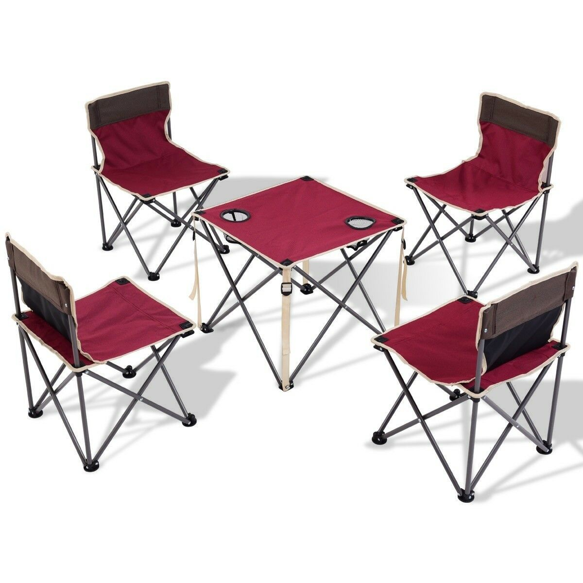 5Pcs Outdoor Camping Hiking Picnic Folding Table Chairs Set with Carrying Bag US