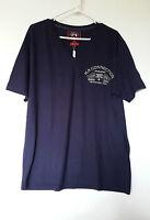Marion Roth T-shirt Homme Taille Xxl Bleu Marine Logo Et Blason Brodes Beige