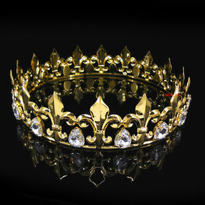 636b3b1019d7 Men s Imperial Medieval Fleur De Lis Gold King Crown 4.5cm High 18cm ...