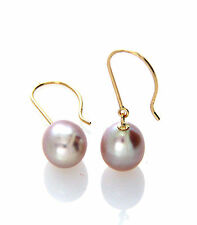 Hallmarked 14ct 14K Yellow Gold Lavender Freshwater Pearl Drop Earrings 7-8mm