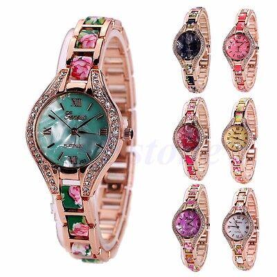 Fashion Women's Roman Numerals Rhinestone Stainless Steel Bracelet Wrist Watches