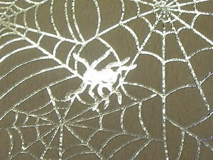 STRETCH VELOUR -SPIDERS WEB FOIL PRINT -DRESS FABRIC-1.0 METRE