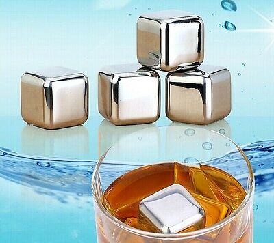 1/2/4/6/8pcs Stainless Steel Glacier Rocks Neat Ice Cube Drink Whiskey Stones