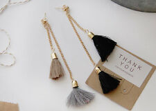 Fashion Jewelry Black Brown Tassel Tassal Two Layered Layering Drop Earrings