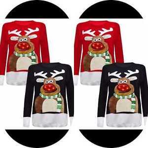 Nouveau femmes unisexe Rudolph Nez Noël 3D Femmes Pull avec DEL feux clignotants Top