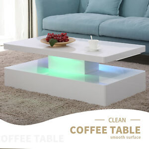 Image Is Loading High Gloss Led Lighting Modern Coffee Table With