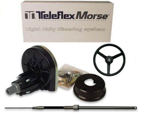 TELEFLEX 15 FEET BOAT STEERING KIT SYSTEM CABLE OUTBOARD MAX 53 HP INC WHEEL