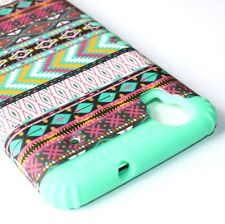 For ZTE Boost Max N9520 -HARD&SOFT RUBBER HYBRID SKIN CASE PINK MINT GREEN AZTEC