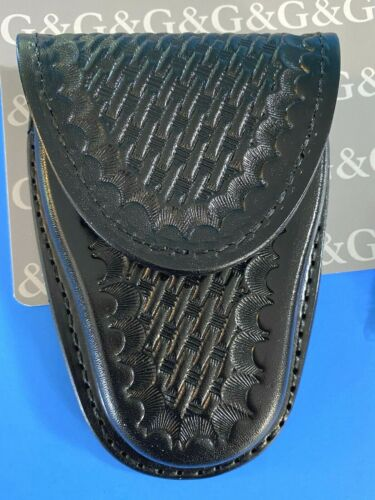 NWT GOULD /& GOODRICH B141W BLACK BASKET WEAVE SINGLE HANDCUFF CASE