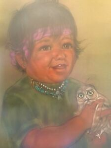 Original-Cleo-Teissedre-Pastel-Chalk-Drawing-Painting-Signed-Very-Large