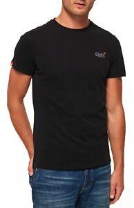 Superdry-Orange-Label-Crew-Neck-T-shirt-Plain-Cotton-Tee-Black