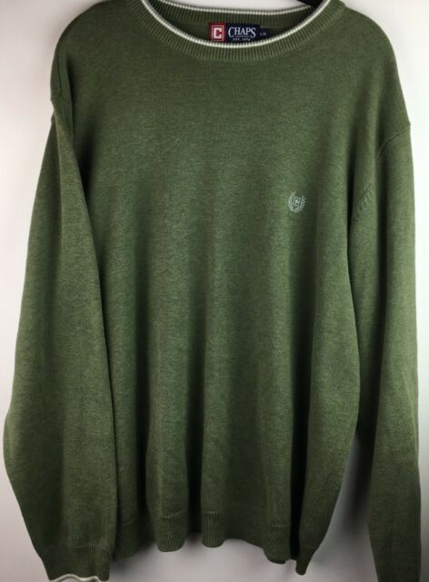 Chaps Men's Sweater Size Large Pullover Crew Neck Olive Green White Trim Cotton