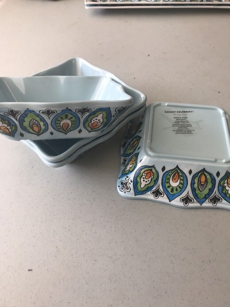 4 - Secret Celebrity Living It Up bluee Mgoldccan Floral Bowls - 7  - NWT