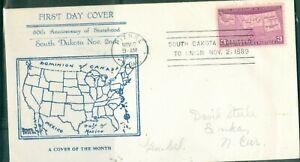 US -FDC.858 SOUTH DAKOTA 50th ANNIV. USA.CANCEL.PIERRE S.DAK.NOV 2-1939 ADDR. -
