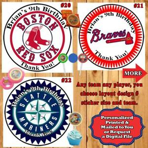 Details about Baseball MLB Birthday Stickers Round 1 Sheet Personalized Any  Team Any Player