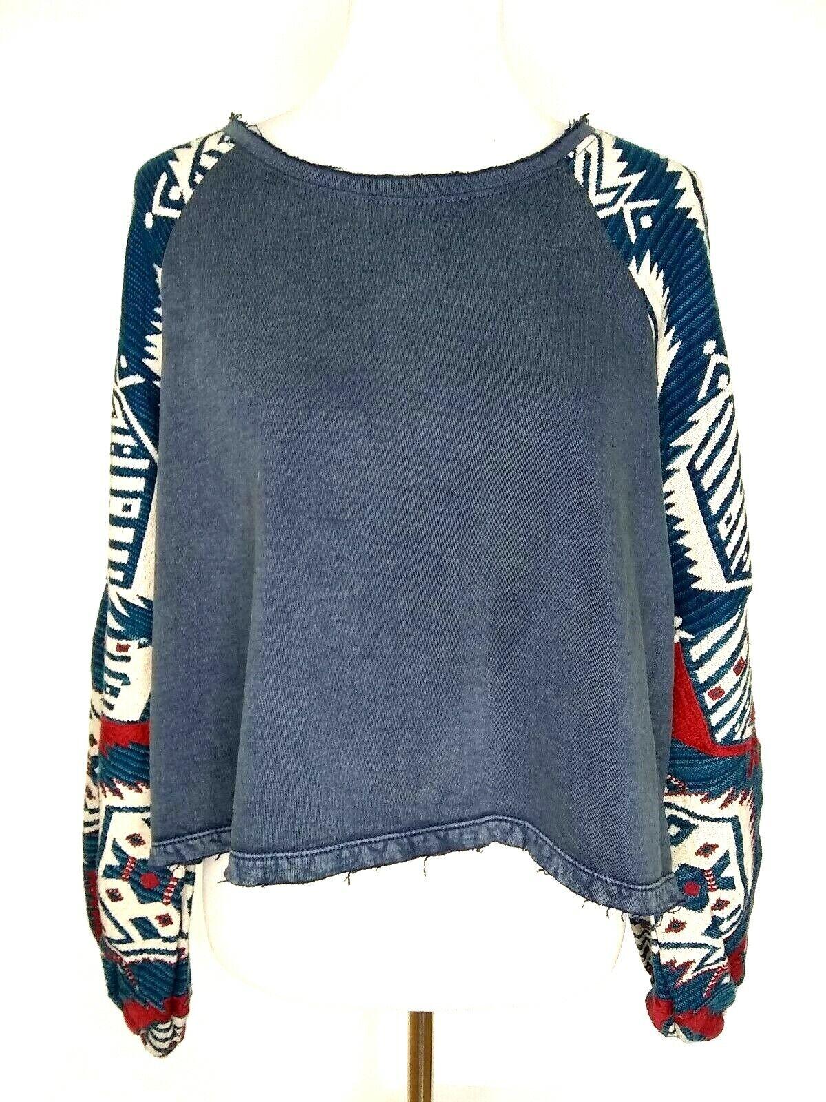 Free People damen Gone Global Blau Cropped Embroiderot Puff Sleeves Medium