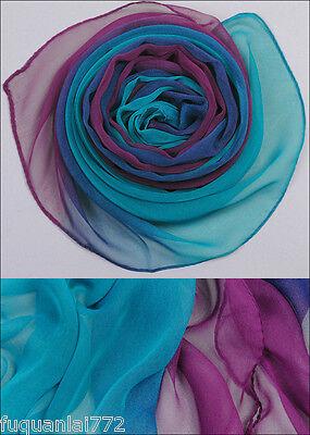 New Fashion Purple Blue Gradient 100% Silk Scarf 62'' x 20 ''