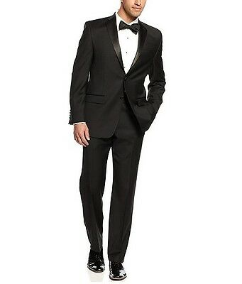 2-BUTTON SOLID BLACK SLIM FIT TUXEDO SUIT NOTCH LAPEL
