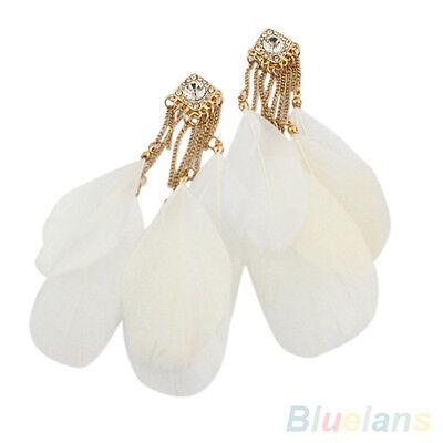 Bohemian Fashion Handmade White Feather Rhinestone Long Drop Dangle Earrings New