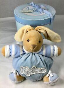 Kaloo-Plush-Bunny-Rabbit-Baby-Comforter-Squishy-Soft-Doudou-Tan-Blue-France-Box