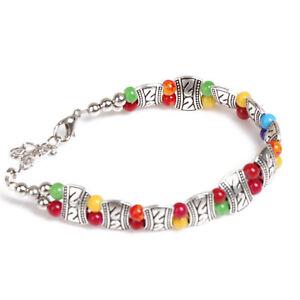 Perles-De-Ethnique-Tibetain-En-Alliage-d-039-argent-Bracelet16-4-5cm-B5X4