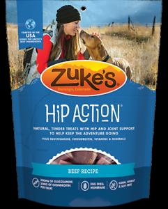 Zukes 6 oz HIP ACTION  Glucosamine & Chondroitin Dog Treats 3 GREAT RECIPES
