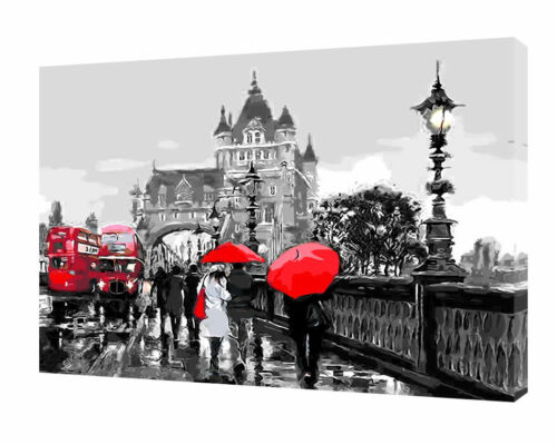 LONDON TOWER BRIDGE RED UMBRELLAS BUSES PRINT ON FRAMED CANVAS WALL ART