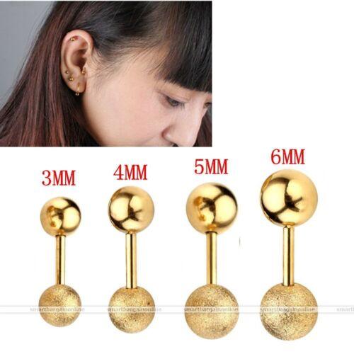 Stainless Steel Ball Ear Studs Cartilage Tragus Barbell Bar Sparkle Earring Stud