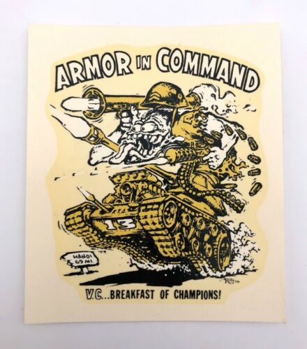 "ED /""BIG DADDY/"" ROTH ARMOR IN COMMAND ORIGINAL 1960/'s DECAL STICKER"