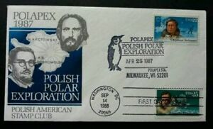 [SJ] USA Polish Joint Polar Exploration 1987 Antarctic Penguin (FDC) *dual PMK