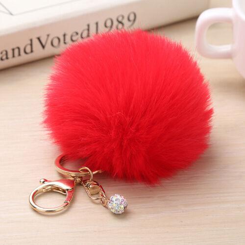 Faux Fluffy Rabbit Fur Ball Keyring HandBag Pendant Pompom Keychain Car Bag Acce