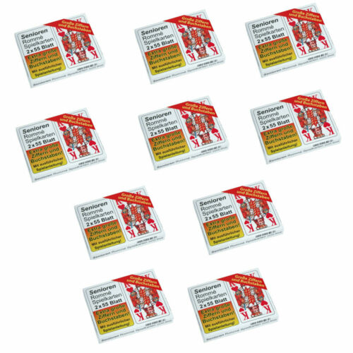 10x Senioren Rommé Canasta Bridge Spielkarten 2x55 Blatt Große Zeichen NEU//OVP