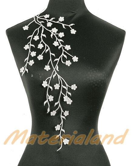 20pcs Silver Long Flower Venise Lace Applique Trims Hotfix Embroidery #EM03B