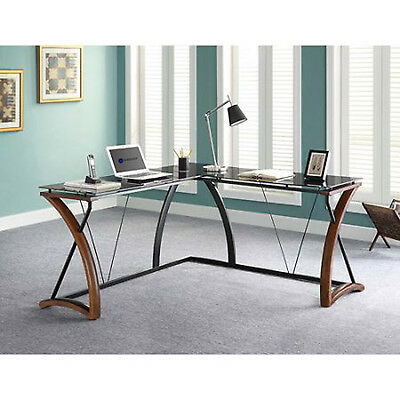 Whalen Newport Wood L Shaped Table Black Modern Desk Tempered Glass Work Surface