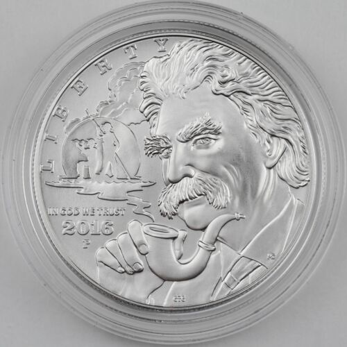 2016-P Mark Twain Silver Dollar Uncirculated Commemorative Coin, Mint Box COA