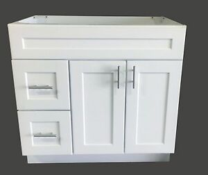 "Bathroom Vanity Base new white shaker single-sink bathroom vanity base cabinet 36"" wide"