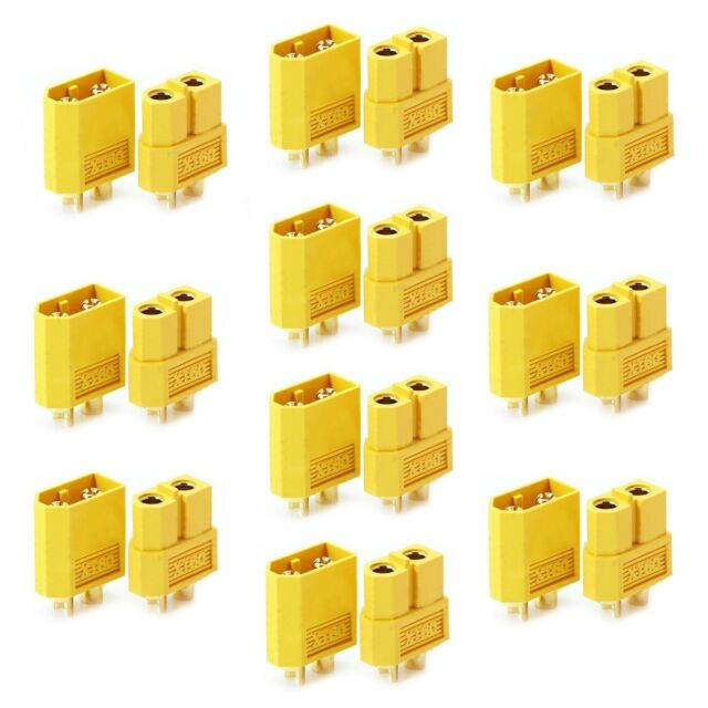 Plug Connector 5pcs Gold-Plated XT60 //MT60 Male+Female Plug Connector with Wire for Battery ESC Charger 180 Degrees Outward