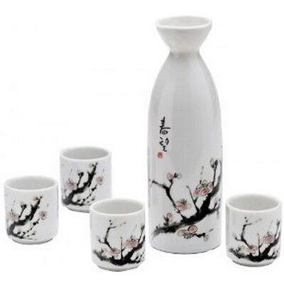 Japanese Sakura Porcelain Sake Set Bottle Cups P7/U