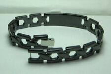Men 12mm Black Ceramic & Tungsten Bracelet Length 8.5 inches