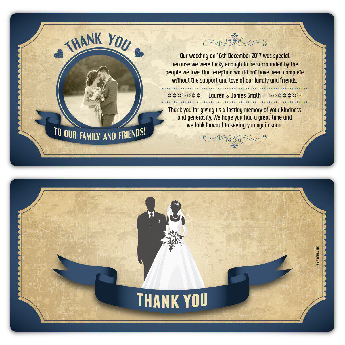 Wedding Thank You Cards - Blau Vintage Bride and Groom Tickets Personalised