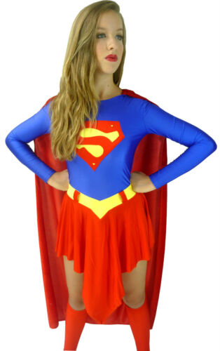 8 10 12 14 16 18 Supergirl Super Girl Woman Superwoman Fancy Dress Costume