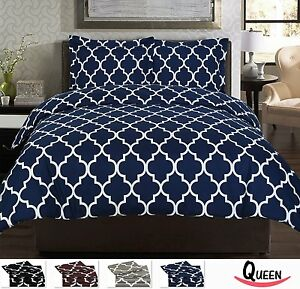 Navy Duvet Cover King Size Set Blue White Bedding Bedroom ...