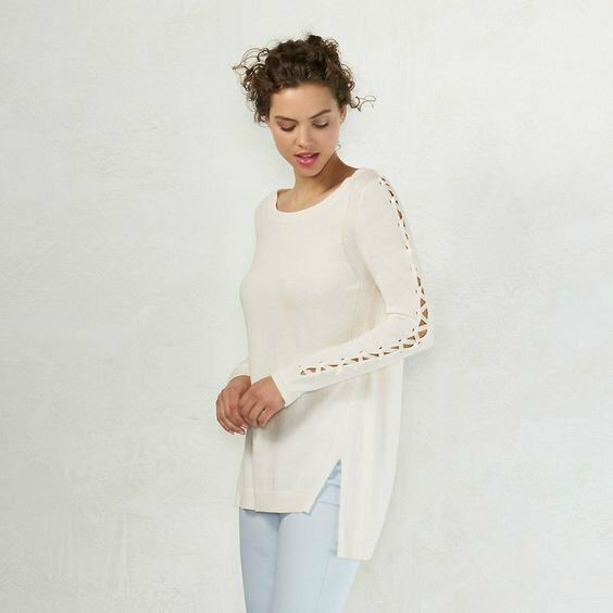 0a5fcb3cad5812 Lauren Conrad Off White Sccopneck Lace Up Sleeves Vented Hem Sweater XS L